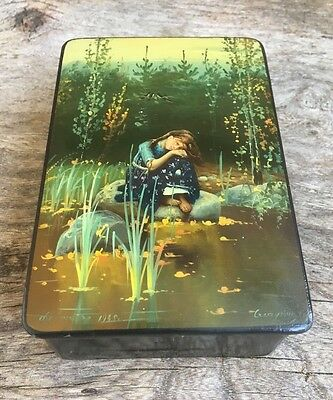 Antique Russian Signed & Dated Papier Mache Lacquered Box - Hand Painted - Girl