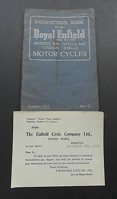 Instruction Book-Royal Enfield R.E. & Ensign Motor Cycles-1955 +Compliment Slip