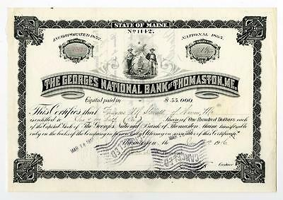 Georges National Bank of Thomaston, Me., 1916 Issued Stock Certificate