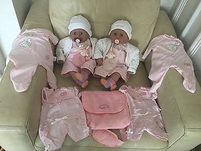 """Baby Annabell Interactive Twin Dolls 2009 Version 5 Size 18"""" & Accessories"""