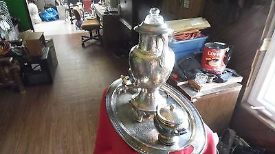 Coffee service Percolater sugar and milk and tray possible silver plated antique