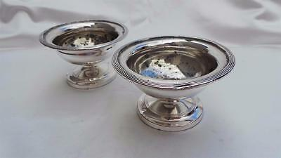 Good Pair Of Antique Old Sheffield Plate Silver Topped Circular Salt Cellars