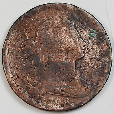"""1798 Large Cent.  Counter stamped with """"S"""" twice on Obverse.  V.G. Detail."""