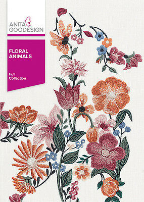 Anita Goodesign FLORAL ANIMALS Embroidery Design Collection 361AGHD - NEW SEALED