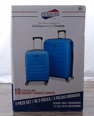 """American Tourister 2-pc Suitcase Spinner Set Expandable Hardside 20"""" 28"""" Blue"""