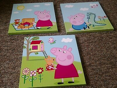 3 X Peppa Pig and George Childrens / Kids Room Canvas