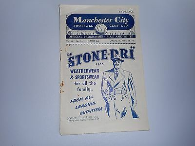 MANCHESTER CITY  v  BOLTON WANDERERS  1951/2  ~  APRIL 19th  *****FREE POST*****