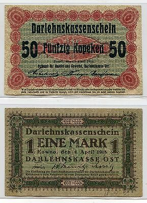 Germany ~ Qty 2 ~ Wwi Banknotes ~ 50 Kopek 1916 & 1 Mark 1918 ~ Circulated