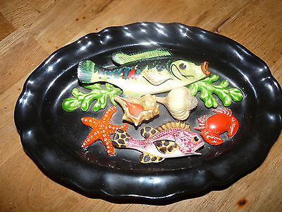 Plat Ovale Barbotines Trompe L Oeil Vallauris Decor Poissons