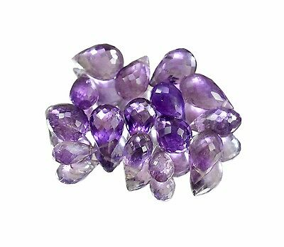 35ct / 15pcs Natural Amethyst Facet 8.8mm to 12.6mm Drop Shape Gemstone Beads