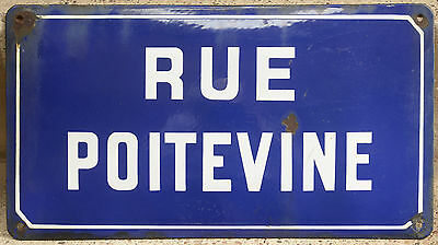Old French enamel steel street sign road plaque name Poitevine Poitou Mazamet