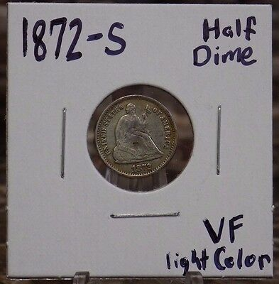 1872-S Seated Liberty Half Dime MM Below Bow Very-Fine Condition 1872 S H10C