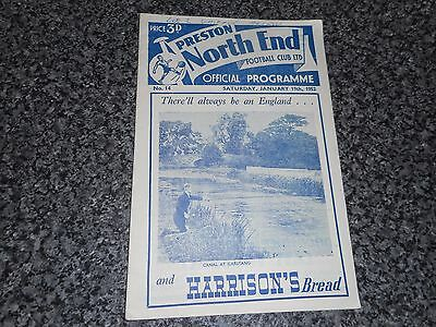PRESTON NORTH END  v  BOLTON WANDERERS  1951/2  ~ JANUARY 19th   ***FREE POST***