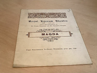 1896 Royal Lyceum Theatre Programme - Magda - Opening Night