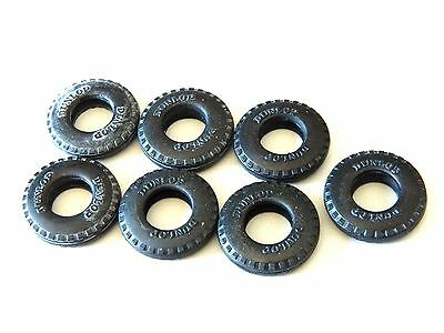 VINTAGE TRIANG SCALEXTRIC CAR SPARES. 7 X DUNLOP TYRES. New Old Stock