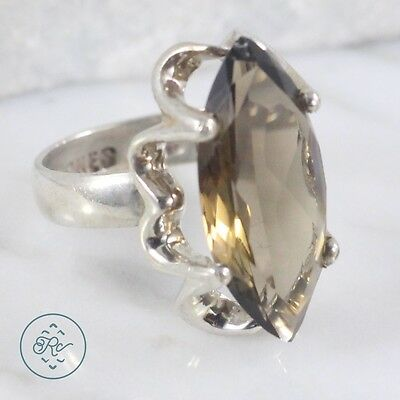 Vintage Sterling Silver | MEXICO Marquise Cut Smoky Quartz 5.2g | Ring (6)