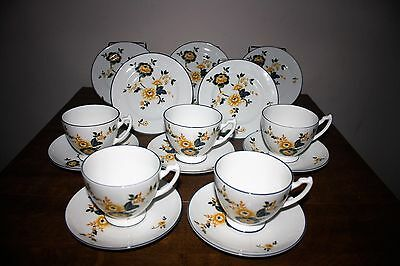 "Very Pretty Set Of Coalport ""Orange & Blue Floral"" Bone China Cup/Saucer/Plates"