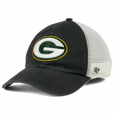 Green Bay Packers NFL Blue Hill Closer Charcoal Cap Hat Stretch-Fit Mesh  Back 47 5bcced176