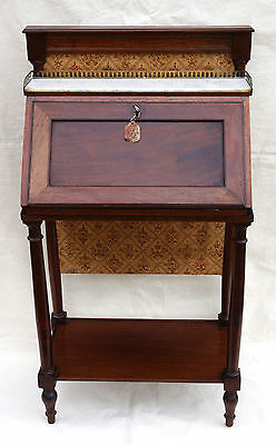 French Lady Desk Sliding Fire Screen Billet Doux Louis XIV Mahogany Late 18th C