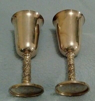 Set Of 2 Silverplated Wine Cups Made In Spain