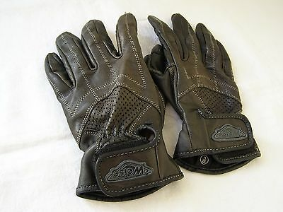 Weise Black Leather Summer Motorcycle Gloves - Size L