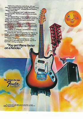 """Vintage 1970's Fender Guitars """"You'll Get There Faster"""" Rocket Print Advert"""