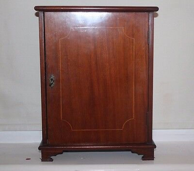Antique Edwardian Small Cabinet Mahogany With Boxwood/satinwood Stringing