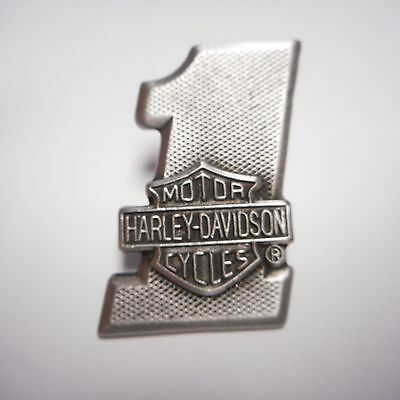 Harley Davidson ****#1 With Shield ***  Pewter Pin  Fantastic Old School