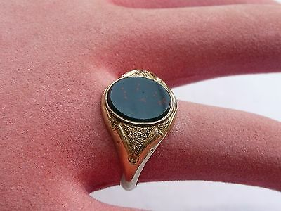 Super Mens 9Ct Gold Victorian Bloodstone Signet Seal Ring Size S 19.15Mm Dia