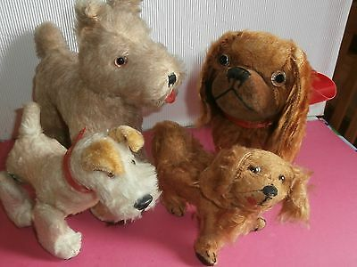 ESTATE 4  antique  mohair  stuffed  fantastic  adorables  dogs .SHUCO  /STEIFF ?