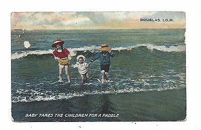 Vintage postcard Baby takes the children for a paddle. Douglas, Isle of Man 1909
