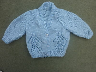 "Baby Boy Cardigan 17"" 3-6  Months In  Blue Double Knitting Wool"