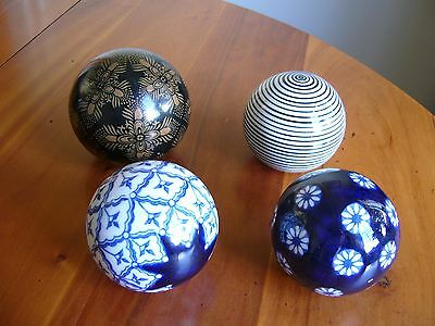 4 Old Very Decorative Ceramic/glass Carpet Bowls - Victorian?
