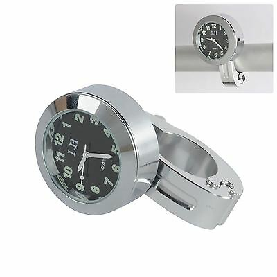 Wateproof Motorcycle Bar Mount Clock for Honda Suzuki Kawasaki Harley Silver