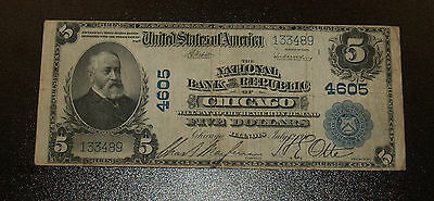 $5 National Bank of the Republic of Chicago - Series 1902 Plainback.