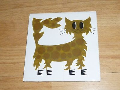 A Vintage Kenneth Townsend SPIKY CAT Tile-Mid Century-c1960.