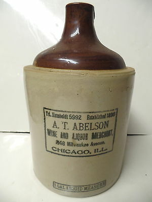 Rare A.t. Abelson Red Wing Advertising 1 Gal Whiskey Jug Chicago Illinois Ill Il