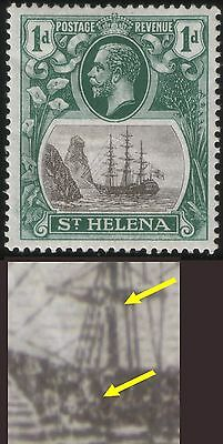 ST. HELENA - 1922 KGV 1d SG98 MINT - WITH MINOR VARIETIES AS INDICATED