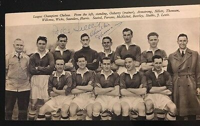 Signed Peter Sillett Charlie Thomson Chelsea FC 1955 Team Football Autograph