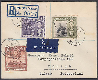 1946 Malta Multi-franking, Valetta Registered Airmail: Zurich (B/S), Switzerland