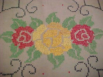 Vintage Antique Hand Embroidered Pillow Sham Foot Stool Cover Roses 1940s Era