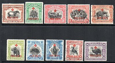 North Borneo: 1918 Red Cross ovpt. vals to 24c. (10) ex SG 235-45 used