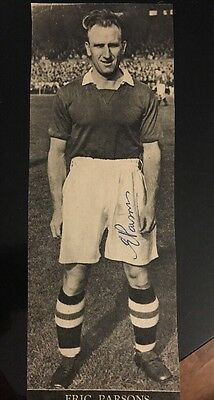Signed Eric Parsons Chelsea FC 1950s Charles Buchan Page Autograph