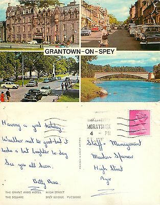 a1374 Grantown-on-Spey, Moray, Scotland postcard posted 1971 stamp