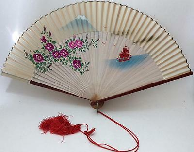 "10"" ANTIQUE VTG JAPANESE HAND PAINTED silk BAMBOO FAN~Mt Fugi Bird flowers"