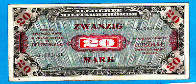 """Germany P195a 20 Mark AMC RUSSIAN ZONE Serial # begining with  """"-"""" 1944 aXF RARE"""