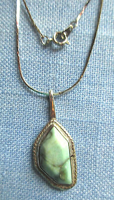 Navajo Silver with Polished Green Turquoise Pendant  Silver Chain Necklace