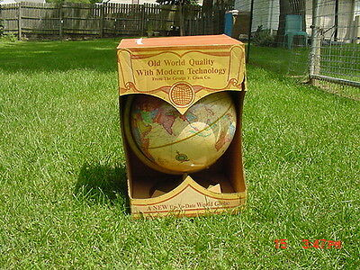 Vintage Cram 12 World Globe With Raised Relief Feature In Original Sales Box NOS