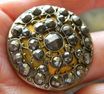 Lg Antique Victorian Brass Button Brilliant CUT Faceted STEELS set on FILIGREE