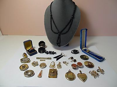 Lot Group Antique Vintage Mourning Jewelry Pin Rings Use Scrap Resale Re-purpose